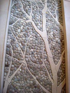 clay, garden ideas, river rocks, tree, garden paths, tile, gardens, stone, pebble mosaic wall