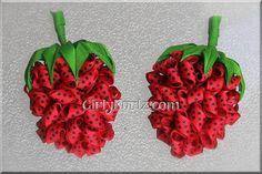 Strawberry Pom Pom Hair Bows by GirlyKurlz.com