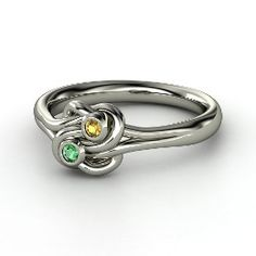 Lover's Knot Ring, Sterling Silver Ring with Emerald