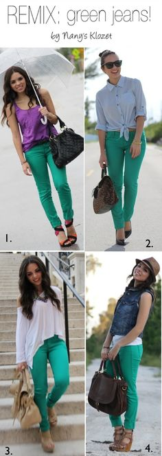Green jeans... 4 ways to wear them!