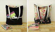Reversible tote bag, sewing pattern (PDF) instant download