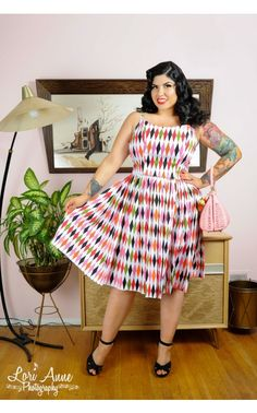 Pinup Couture Jenny Dress in Harlequin Print Sateen - Plus Size | Pinup Girl Clothing