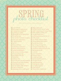 Spring Photo Check List