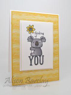 Gothdove Designs - Alison Barclay #stampinup #stampinupaustralia #KindKoala #Blendabilities #CASEThisSketch #card #ThinkingOfYou #moonlightDSP #inspirecreateshare2014