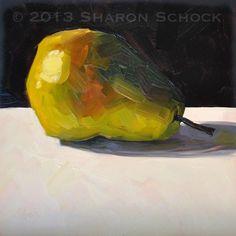Fruit still life painting - Lazy Pear - 6x6. $75.00, via Etsy.