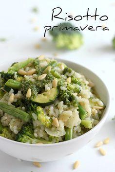 Risotto primavera with parsley pesto (vegan!)