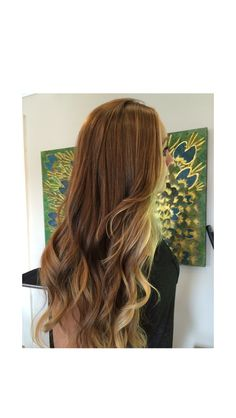 Balayage ombre using her natural dark blonde light brown base and painting through highlights. Dark blonde dimension throughout with lightened blonde ends and a golden blonde glaze for sunny Summertime hair! Beautiful! Sunkissed blonde. Sunkissed highlights. Texture. Seamless layers. Long layers