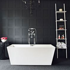 I love white bathrooms but I would say black bathrooms are sexy too