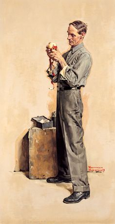 The Apple Peeler by Norman Rockwell