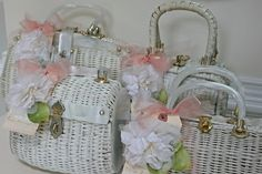 White wicker purse for Easter