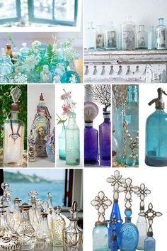 antique bottles, blue, decorating ideas, jar, bohemian style, glass bottl, craft ideas, decor idea, bohemian gypsy