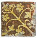 French encaustic tile Tige fleurie encaust tile, tile tige, mediev tile