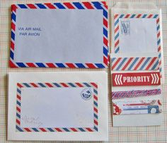 Air Mail Set - Blue Air Mail Envelopes with Decorated Air Mail Envelopes, Post it Notes, and Twine. $4.50, via Etsy.