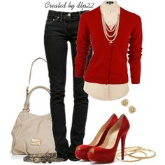 Love the sexy red peep heel toe shoes with the skinny jeans and red blazer!