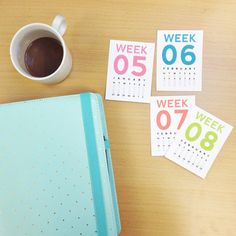 Colorful Week Numbers 2014 Journaling Card Printable. Perfect for Project Life.