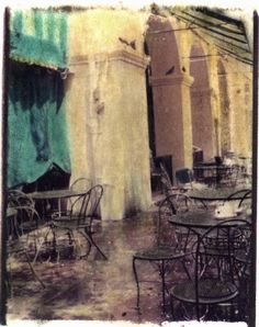 Hand-tinted photograph of Cafe du Monde in New Orleans