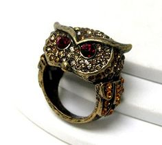 BIG Owl Stretch Ring Red Amber Crystals Burnish Gold
