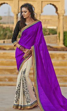 Off White and Magenta Bhagalpuri Silk Saree