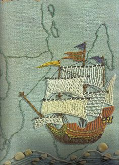 tall ships, sailing ships, embroidery cat, crochet stitches, sea, antique maps, sewing art, children books, fiber art