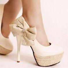 Rhinestone Leather Slim High Heel shoes $32.99