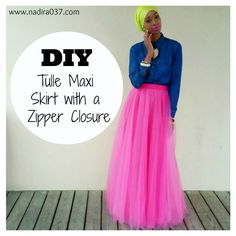 DIY long tulle maxi skirt with a hidden zipper closure tutorial. Perfect for everday, prom, Eid or any special occasion.