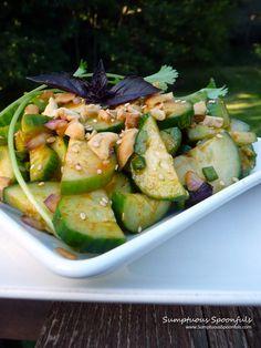Half Moon Sesame Thai Cucumber Salad ~ Sumptuous Spoonfuls #cucumber #salad