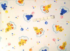 Rare Retired SESAME STREET Fabric - Baby Big Bird & Cookie Monster Clouds Balloons HTF