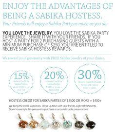 Earn Free Sabika when you Host a Sabika Party.  www.sabika-jewelry.com