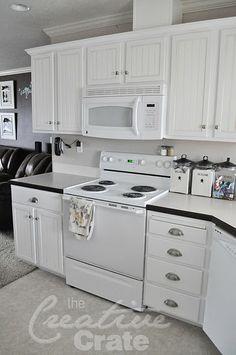 Bead board kitchen cabinet redo