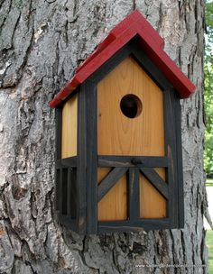 Unique outdoor wood painted bird house/nesting by www.myretirementgig.etsy.com or www.sadlergardencollections.com