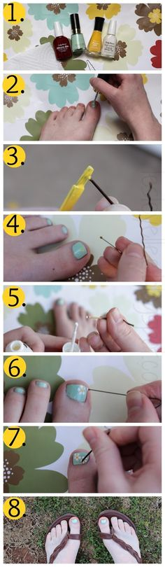 Tutorial: Easy D.I.Y. Spring Flower Design For Your Toes... no fancy nail art tool needed!