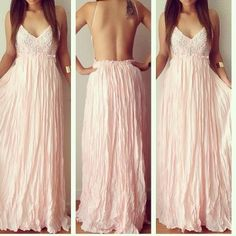 Spaghetti Strap Sleeveless Backless Lace Patchwork High-waist Pink Ankle Length Pleated Dress
