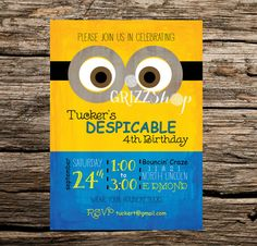 Despicable Me Birthday Invitation