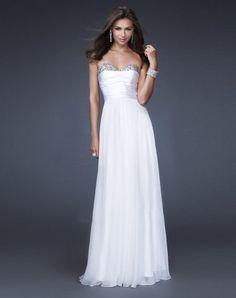 A-line Sweetheart Sleeveless Floor-length Chiffon Evening Dress