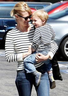 January Jones and son Xander both wore nautical striped shirts heading to lunch.