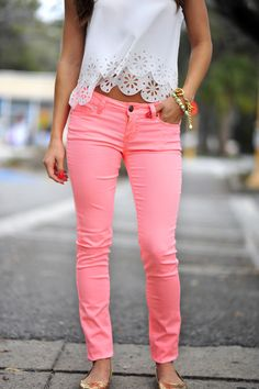 colored pants, lace tops, pink pants, summer outfits, white lace, neon pink, spring outfits, shirt, colored jeans