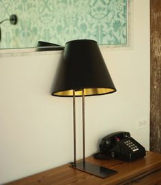 Take Home a Piece of the Wythe Hotel // table lamp, black and gold lamp