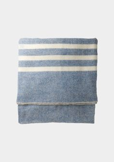 MACAUSLAND'S BLANKET | TOAST decor, canada, wool blanket, white stripe, hous, toast, blankets, blues, bedroom