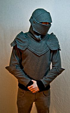 Armor Hoodie  Awesome.  What else could you do with this idea?  Monk/nun habit?  Jester hoodie?  Owl?