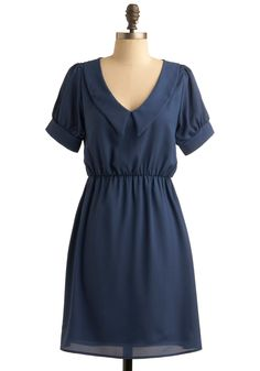 Blue Isthmus Dress - Blue, Solid, Casual, A-line, Short Sleeves, Mid-length