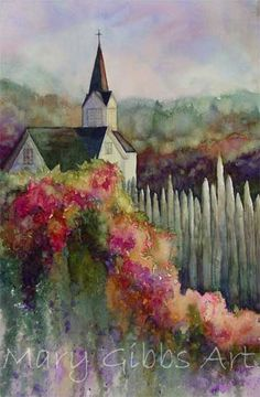 church art, paintings of churches, church painting, church watercolor painting