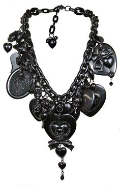 """I Love/Hate/Bleeding Hearts"" Supercharm Waterfall Necklace in Black by Tarina Tarantino"