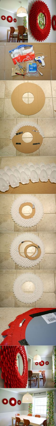 That's a LOT of spoons! DIY Decorative Chrysanthemum Mirror with Plastic Spoons
