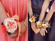 An Alternative to Bridesmaids Bouquets: Wrist Corsages