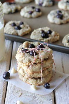 , White Chocolate Blueberry Oatmeal Cookies