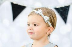 Silver Dressy Christmas Felt Bow Headband