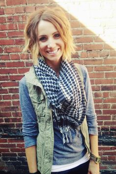Gray tee, cargo vest, fringed scarf and leopard sneaks