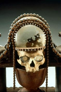 Crystal ball skull reliquary art