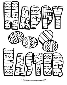 Happy Easter Wishes - Free Coloring Pages for Kids - Printable Colouring Sheets