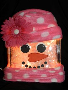 Glass block snowlady